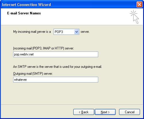 Using Outlook Express to Retrieve your webtv